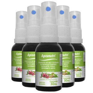 Kit 5 Extrato de própolis verde do alecrin Apisnutri 30ml