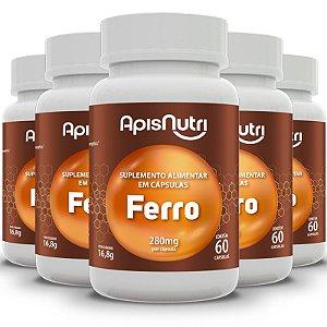 Kit 5 Suplemento Mineral de Ferro Apisnutri 60 Cápsulas