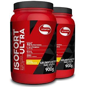 Kit 2 Whey Isolado Isofort Ultra Vitafor 900g Baunilha