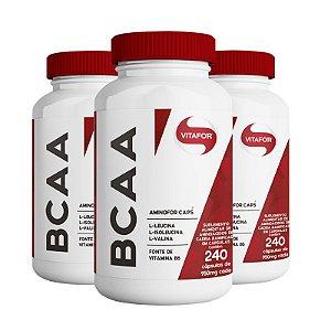 Kit 3 Aminofor BCAA Vitafor 240 cápsulas