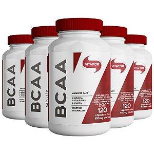 Kit 5 Aminofor BCAA Vitafor 120 cápsulas