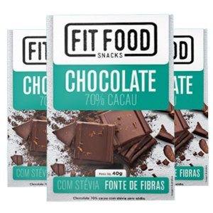 Kit 3 Chocolate 70% cacau adoçado com Stévia Fit Food
