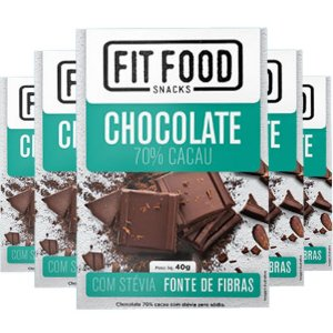 Kit 5 Chocolate 70% cacau adoçado com Stévia Fit Food