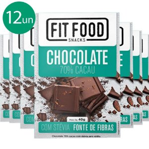 Kit 12 Chocolate 70% cacau adoçado com Stévia Fit Food