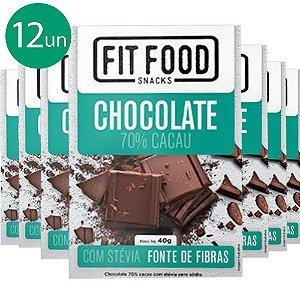 Kit 12 Chocolate 70% cacau adoçado com Stévia Fit Food