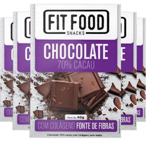 Kit 5 Chocolate 70% cacau com Colágeno Fit Food