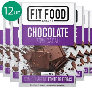 Kit 12 Chocolate 70% cacau com Colágeno Fit Food