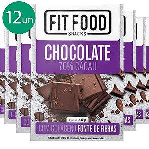 Kit 12 Chocolate 70% cacau com Colágeno Fit Food