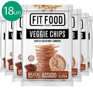 Kit 18 Veggie Chips Grão De Bico Sabor Barbecue 40g Fit Food
