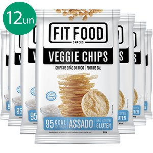 Kit 12 Veggie Chips Grão De Bico Salgado 40g Fit Food