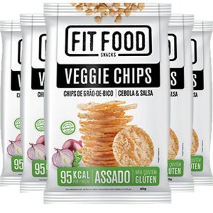 Kit 5 Veggie Chips Grão De Bico Sabor Cebola e Salsa 40g Fit Food