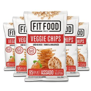 Kit 5 Veggie Chips Grão De Bico Sabor Tomate 40g Fit Food