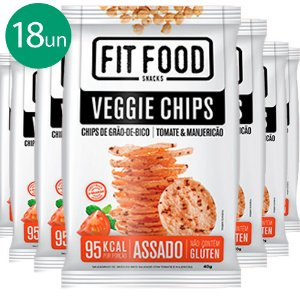 Kit 18 Veggie Chips Grão De Bico Sabor Tomate 40g Fit Food