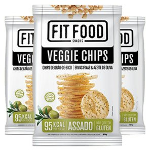 Kit 3 Veggie Chips Grão De Bico Sabor Ervas Finas 40g Fit Food