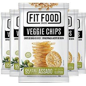 Kit 5 Veggie Chips Grão De Bico Sabor Ervas Finas 40g Fit Food
