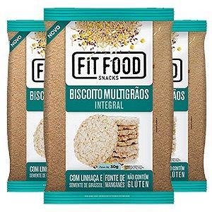 Kit 3 Biscoito de Arroz Multigrãos 30g Fit food