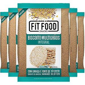 Kit 5 Biscoito de Arroz Multigrãos 30g Fit food