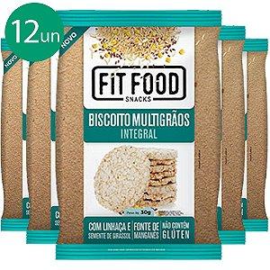 Kit 12 Biscoito de Arroz Multigrãos 30g Fit food