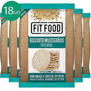Kit 18 Biscoito de Arroz Multigrãos 30g Fit food