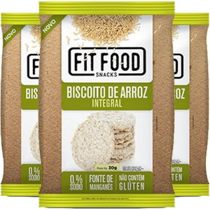 Kit 3 Biscoito de Arroz Natural 30g Fit food