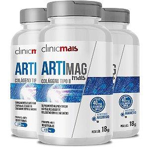Kit 3 ARTIMAG Colágeno tipo II e Magnésio 30 cápsulas Clinicmais