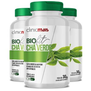 Kit 3 Biofit Chá Verde 60 cápsulas da Clinicmais