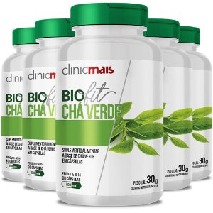 Kit 5 Biofit Chá Verde 60 cápsulas da Clinicmais