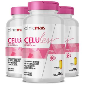 Kit 3 Celuless Cártamo e Semente de Uva 60 cápsulas Clinicmais