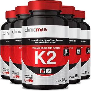 Kit 5 Suplemento de Vitamina K2 30 cápsulas Clinicmais