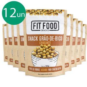 Kit 12 Snack Grão de Bico Levemente Salgado Fit Food 100g