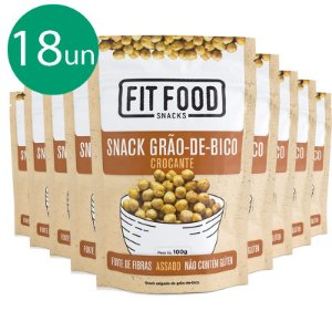 Kit 18 Snack Grão de Bico Levemente Salgado Fit Food 100g