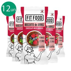 Kit 12 Biscoito de arroz c/ chocolate amargo FIT FOOD 60g