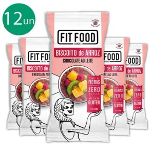 Kit 12 Biscoito de arroz c/ chocolate ao leite FIT FOOD 60g
