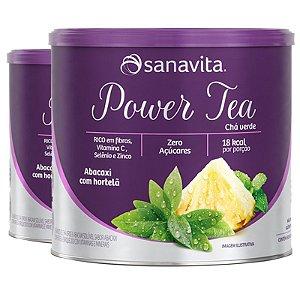 Kit 2 Power Tea Chá verde abacaxi com hortelã 200g da Sanavita