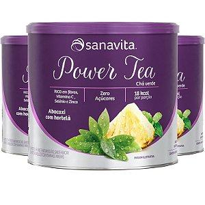 Kit 3 Power Tea Chá verde abacaxi com hortelã 200g da Sanavita