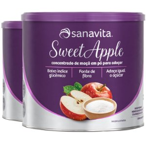 Kit 2 SWEETAPPLE Adoçante natural a base de maçã da Sanavita 250g