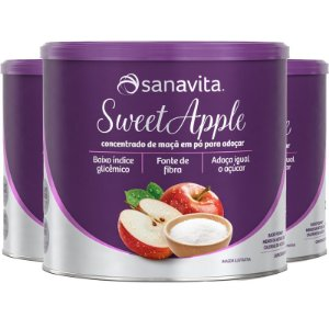 Kit 3 SWEETAPPLE Adoçante natural a base de maçã da Sanavita 250g