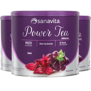 Kit 3 Power Tea Chá Hibiscus Uva 200g Sanavita