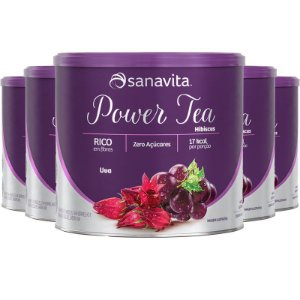 Kit 5 Power Tea Chá Hibiscus Uva 200g Sanavita