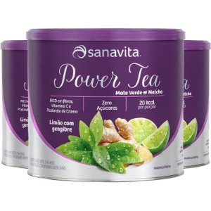 Kit 3 Power Tea Mate Verde & Matchá limão com gengibre 200g Sanavita