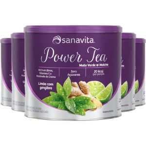 Kit 5 Power Tea Mate Verde & Matchá limão com gengibre 200g Sanavita