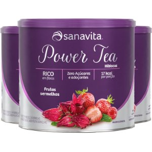Kit 3 Power Tea Chá Hibiscus Frutas vermelhas 200g Sanavita