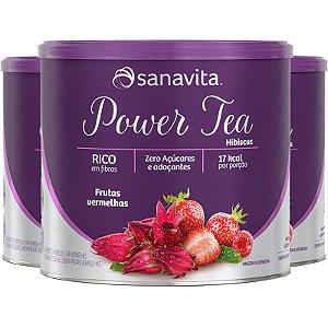 Kit 3 Power Tea Chá Hibiscus Frutas vermelhas 200g Sanavita