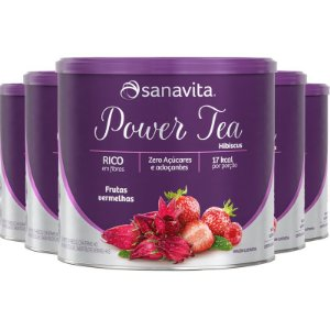 Kit 5 Power Tea Chá Hibiscus Frutas vermelhas 200g Sanavita