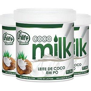Kit 3 Leite de coco em pó Coco Milk 200g Unilife Vitamins