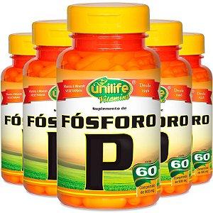 Kit 5 Fosforo Quelato P 60 cápsulas Unilife