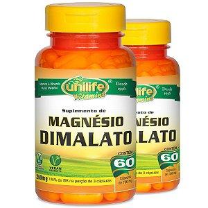 Kit 2 Magnésio Dimalato 60 cápsulas Unilife