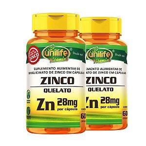 Kit 2 Zinco Quelato cápsulas 60 cápsulas Unilife