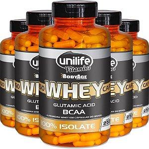 Kit 5 Whey Protein Isolado Unilife 250 capsulas