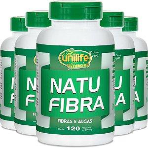 Kit 5 Natu Fibra Emagrecedor 600mg Unilife 120 cápsulas